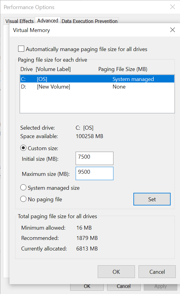 Change paging file size for optimizing computer speed